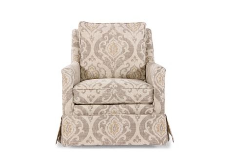 Paisley patterned transitional 29 5 quot swivel chair in cream mathis brothers furniture