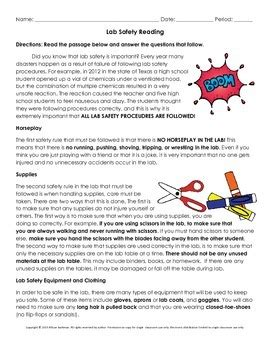 Lab Safety Essay by Lab Safety Reading And Writing Lesson By Science Gal Tpt