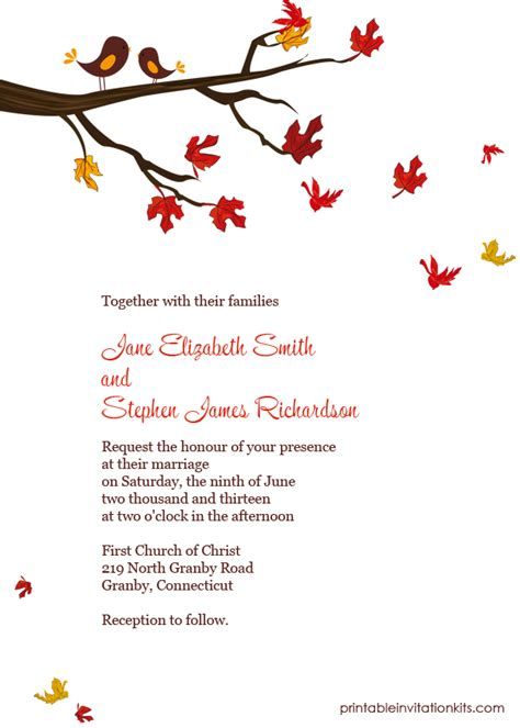 fall templates lovebirds in autumn invitation wedding invitation