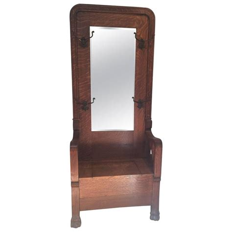 antique hall tree with storage bench and mirror antique hall tree with storage bench and mirror best