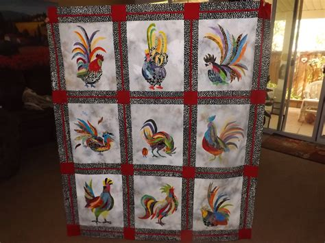 quilt pattern rooster radical roosters quilt top done whew