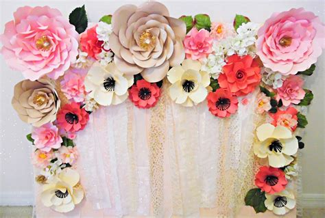 Wedding Backdrop With Paper Flowers by S Crafty Easy Paper Flower Backdrop