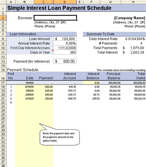 Loan Amortization Schedule And Calculator Simple Interest Loan Template