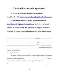 Partnership Agreement Template California sample general partnership agreement for california