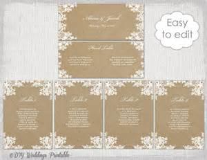 Seating chart cards diy kraft wedding table plan you edit word instant