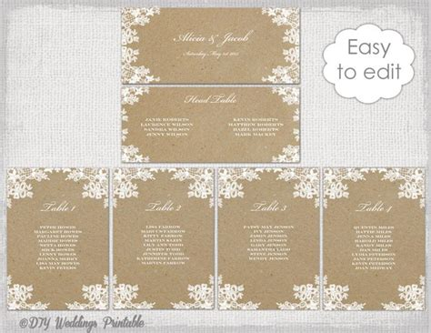 table plan cards template seating chart template quot rustic lace quot printable seating