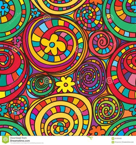 Drapery Designs circle drawing colorful flowers seamless pattern stock