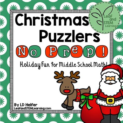 christmas math puzzles for middle school by