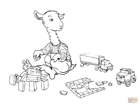 llama llama having fun coloring page free printable