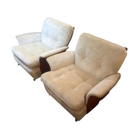 funky pair of upholstered arm chairs