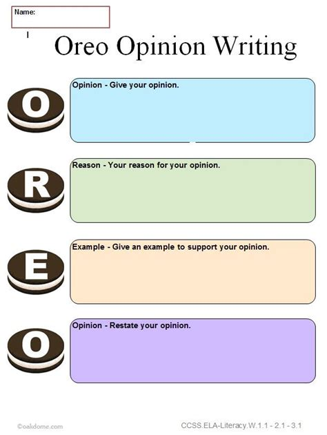 graphic organizer oreo opinion writing for third grade