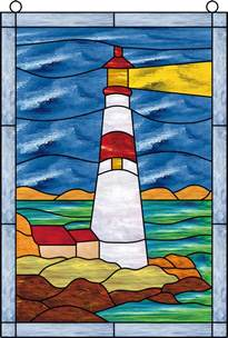 Ben 10 Wall Stickers window film stained glass lighthouse sky water