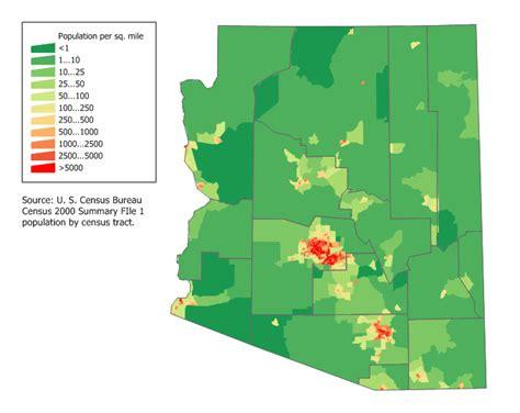 arizona population density map arizona state maps interactive arizona state road maps