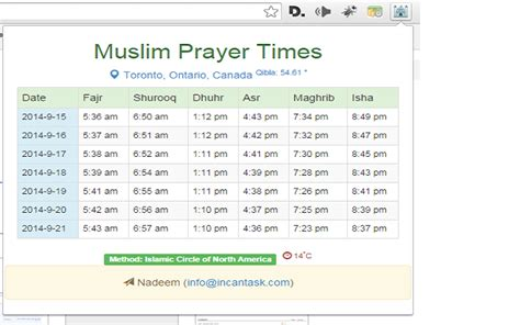 Muslim Prayer Times Weekly Chrome Web Store Muslim Prayer Time Table