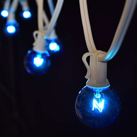 25 blue wedding globe lights white light strand