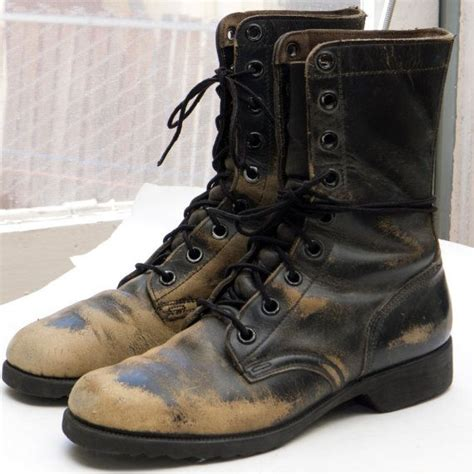 mens black distressed leather boots vintage combat boots sz 7 mens 8 5 womens