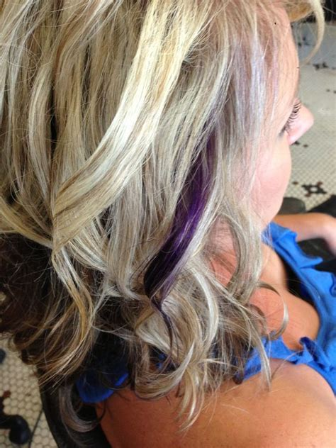 accent highlights blonde highlights with purple accent make up hair