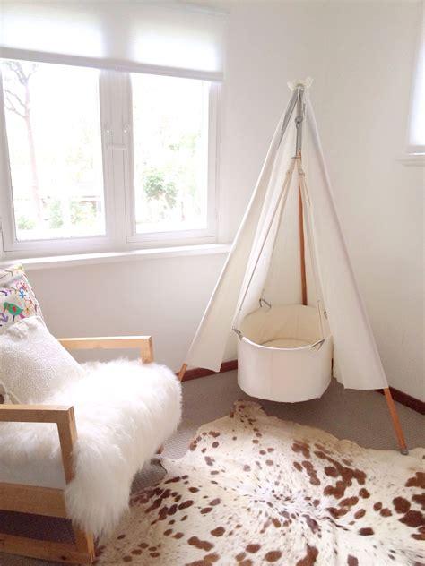 Cowhide Rug Nursery - nursery leander teepee bassinet cow hide rug
