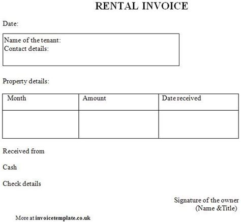 rental invoice template word invoice sle template