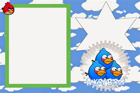 angry birds invitation card template angry birds with clouds free printable invitations oh