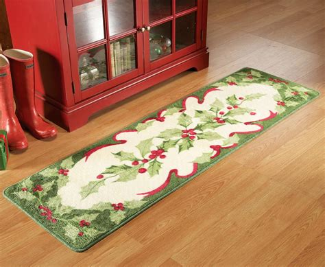 kitchen floor rugs and holiday holly floor runner area rug