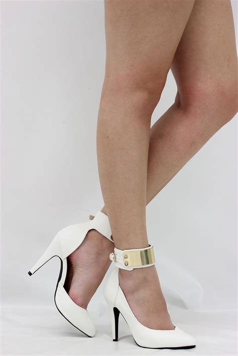white ankle high heels white closed toe gold metal ankle cuff high heel