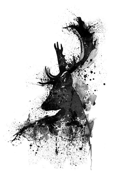 black and white black and white deer watercolor silhouette mixed