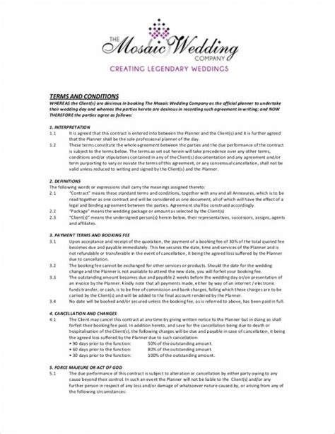 5 Wedding Planner Contract Sles Templates Sle Templates Wedding Planner Contract Template
