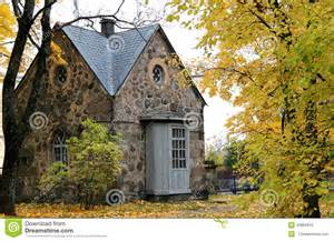 Irish Cottage Floor Plans Old Stone Cottage In The Woods Stock Photo Image 45865843