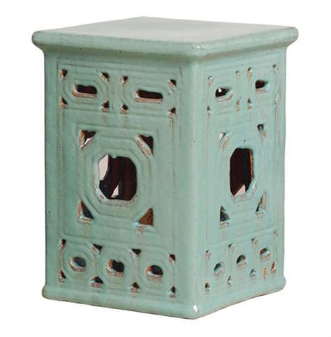 Square Garden Stool by Square Lattice Pierced Garden Seat Stool Light Turquoise