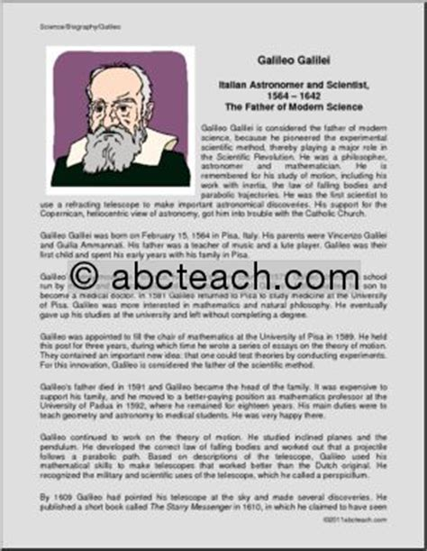 Galileo Biography For Middle School | biography galileo astronomer upper elem middle abcteach