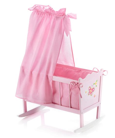Doll Cribs And Cradles by Bayer Chic 2000 Butterfly Wooden Dolls Cradle
