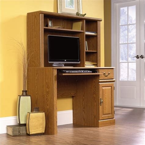 Desk With Small Hutch Sauder Orchard Small Wood W Hutch Oak Computer Desk