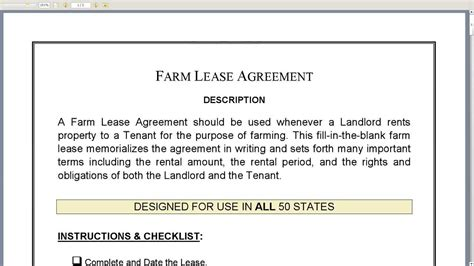 farm lease agreement template farm lease agreement