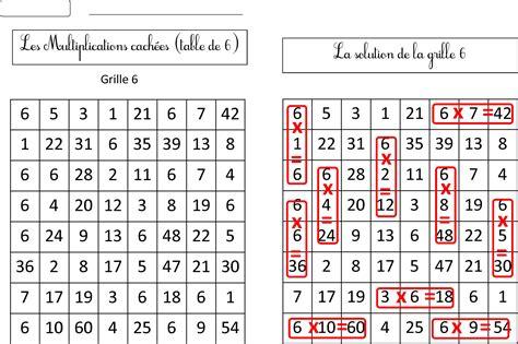reviser les tables de multiplications ce2 nouvelles grilles multiplications cach 233 es tables 6 7 8 9