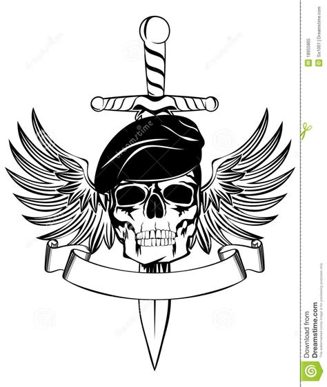 skull in beret stock vector illustration of dead dagger