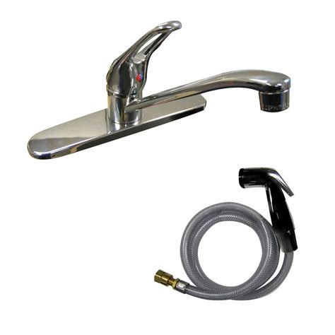 Single Handle Kitchen Faucet With Side Spray Dominion Single Handle Standard Kitchen Faucet With Side Sprayer In Chrome 77 1182 The Home Depot