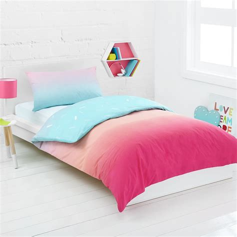 Bed Cover Single rainbow reversible quilt cover set single bed kmart