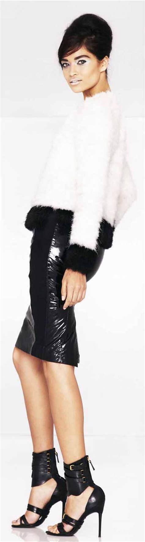 image of black pvc pencil skirt