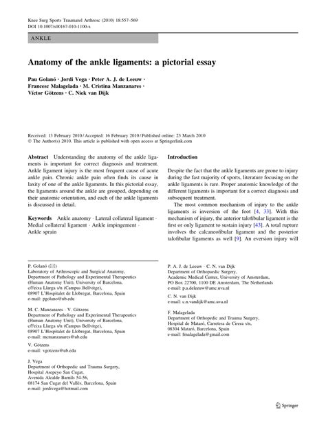 Pictorial Essay About by Anatomy Of The Ankle Ligaments A Pdf Available