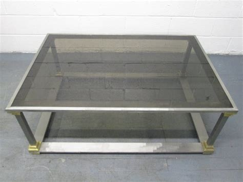 brushed steel coffee table brushed steel and brass coffee table for sale at 1stdibs