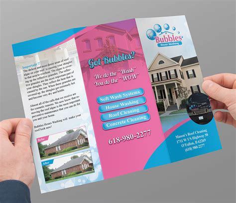 house brochure design playful colorful brochure design for bubbles house washing by brandwar design 5619701