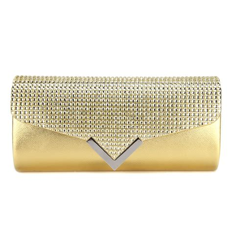 pattern envelope clutch crystal rhinestones embellished flap purse metallic