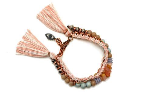 beaded tassel bracelet beaded bracelet tassel bracelet mineral bracelet pastel