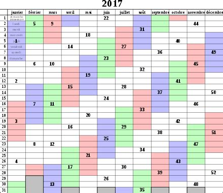 Calendrier Des Semaines 2017 Num 233 Rotation Iso Des Semaines Wikip 233 Dia