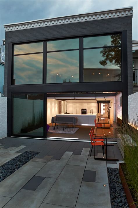 contemporary row house  open concept living