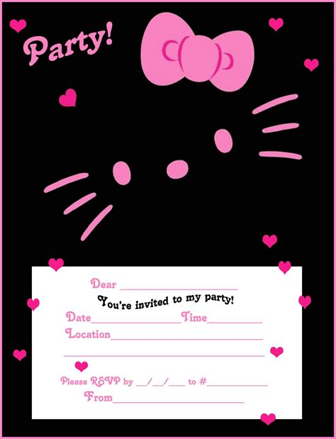 printable birthday invitation cards hello kitty free hello kitty printable free party invites