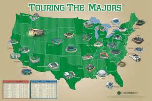 Baseball Usa Map by Touring The Majors Poster