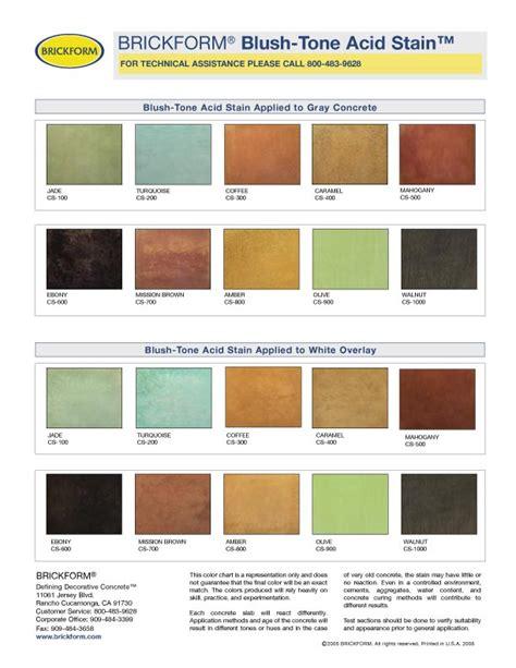 concrete acid stain color chart acid stain