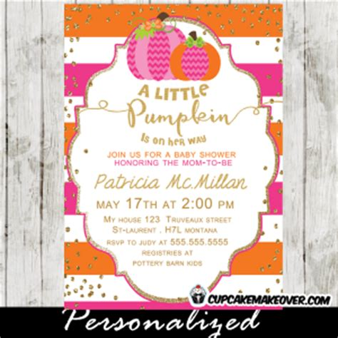Lil Pumpkin Baby Shower Invitations by Pink Orange Pumpkin Baby Shower Invitation
